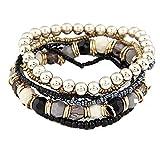 Susenstone®1 Set 7Pcs Boho Wholesale Multilayer Acrylic Beads Beach Bracelet (Black) Reviews
