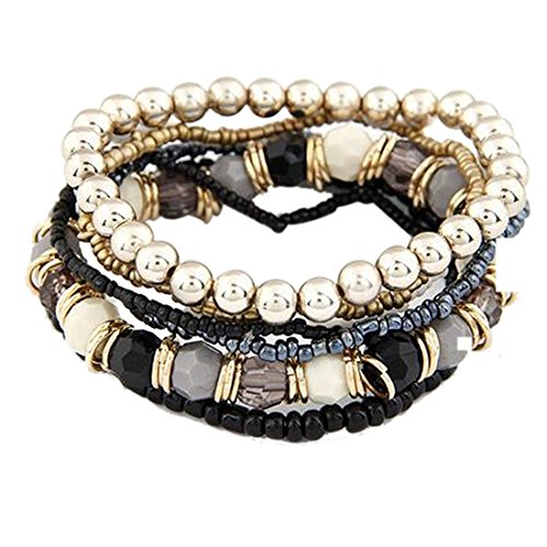 Nurbo 1 Set 7PCS Boho Wholesale Multilayer Acrylic Beads Beach Bracelet (Black)]()