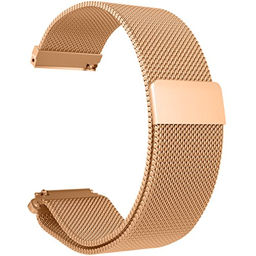 RuenTech 22mm Strap for Fossil Q Wander Replacement Bands, Metal Milanese Loop Bands for Fossil Q Wander Gen 2 Touchscreen Smartwatch (Rose Gold)