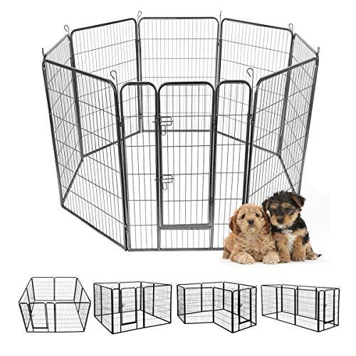 Giantex 16 8 Panel Pet Playpen with Door, Foldable Dog Exercise Pen, Portable Configurable Cat Chicken Rabbit Fence Outdoor Outdoor, Metal Pet Exercise Fence Barrier Kennel