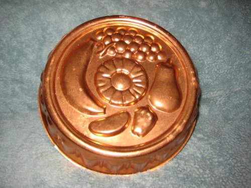 Vintage Coppertone Copper Tone FRUIT PATTERN 10 x 2 1/2 Inch Jell-o Mold / Cake Baking Pan / Wall Plaque