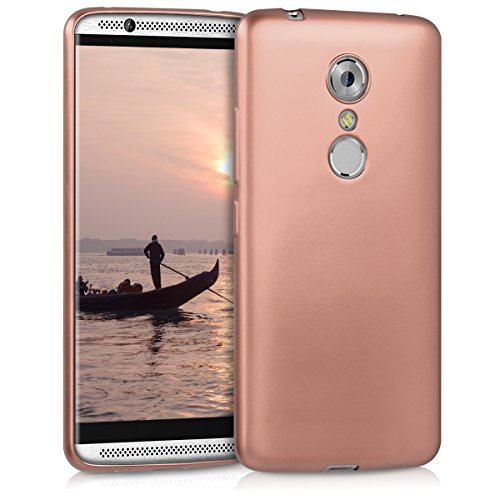 kwmobile TPU Silicone Case for ZTE Axon 7 - Soft Flexible Shock Absorbent Protective Phone Cover - Metallic Rose Gold