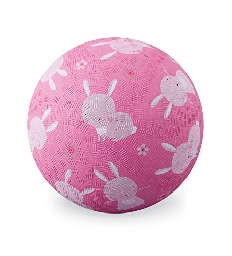 Crocodile Creek Playground Ball with Bunnies, Pink, 7'' by Crocodile Creek