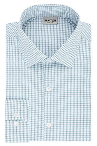 Kenneth Cole REACTION Mens Dress Shirt Slim Fit Technicole Stretch Check
