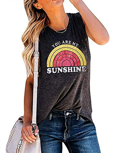 Sunshine Day T-shirt - MOMOER You are My Sunshine Shirt Women Vintage Rainbow Print Graphic Tees Summer Tank Tops Tshirt, Grey, Large