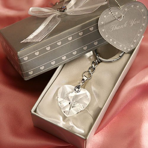 Chrome Key Chain with Crystal Heart (Set of 6) - Wedding Party Favors