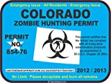 Colorado zombie hunting permit decal bumper sticker