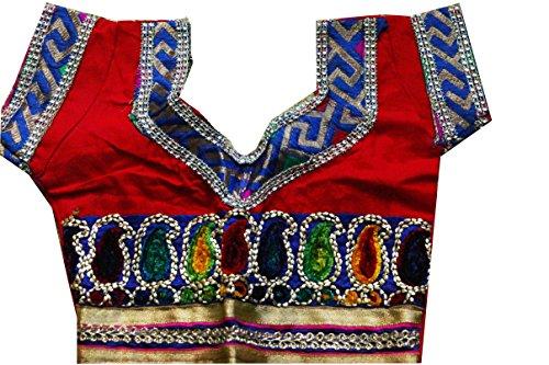 Samudrika-Designer-Embroidered-Garba-Lehenga-Chaniya-Choli-Cotton-Blue-Size-2-Years-Red