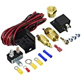 Fan Thermostat Temperature Switch Engine Cooling Sensor Relay Kit 185 to 200 Degree