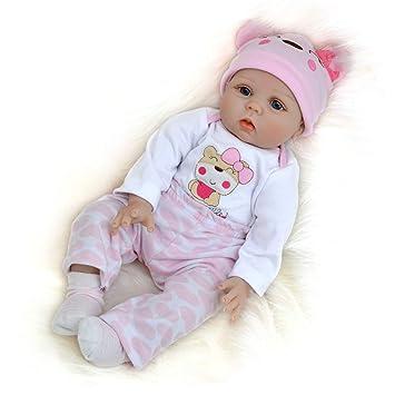 Amazon.es: Muñeca Reborn Bebe Niña Silicona Realista 55 cm Vestimenta de Blanco y Rosa: Juguetes y juegos