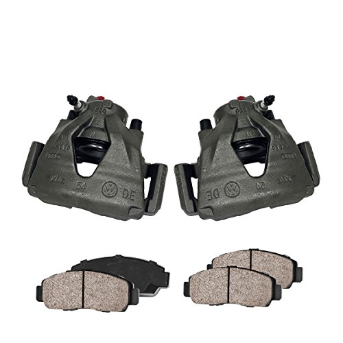 Premium Loaded OE Caliper Assembly Set + [4] Quiet Low Dust Ceramic Brake Pads + Pad Sensors Kit ()