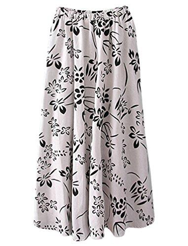 YuanDian Mujer Verano Ocio Bohemia Retro Literatura y Arte Impresión Flor Estilo Cintura Elástica Lino Falda Larga Oscilación Maxi Faldas Blanco Tinta Pintura
