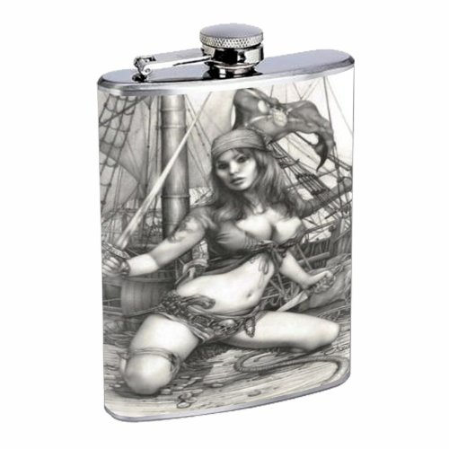 (PIRATE PIN-UP GIRL SAVAGE, GREAT CLEAVAGE! 8OZ Stainless Steel Flask D-458)