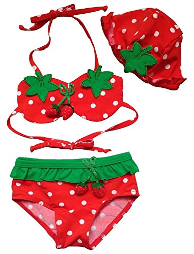 Baby Girl' Strawberry Cartoon 3 Piece Bikini Swimwear (2T(2.3-2.6ft)/19lb, Red)