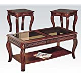 ACME 3 Piece Occasional Cherry Table Set with Glass