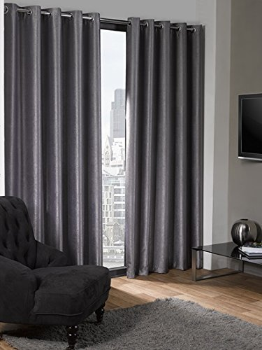 Luxury Logan Textured Silver Eyelet Ring Top Thermal Blackout Curtains (66 Wide x 72 Drop) by Emma Barclay