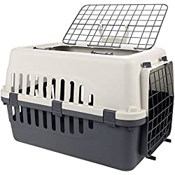 Durable Two Doors Top Load Pet Travel Kennel, Fun Carrier, Crate for Dog, Cat, Rabbit, Chinchilla (47 x 32 x 31cm)