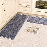 "Kitchen Rugs,CAMAL 2 Pieces Non-Slip Memory Foam Kitchen Mat Rubber Backing Doormat Runner Rug Set (16""x24""+16""x48"", Gray)"