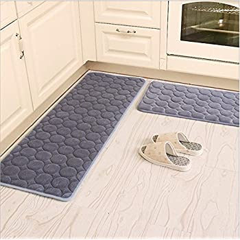 Kitchen Rugs,CAMAL 2 Pieces Non Slip Memory Foam Kitchen Mat Rubber Backing  Doormat