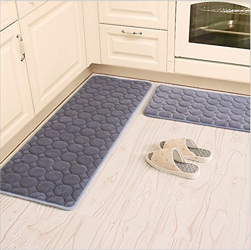 Kitchen Rugs,CAMAL 2 Pieces Non-Slip Memory Foam Kitchen Mat Rubber Backing Doormat Runner Rug Set (16