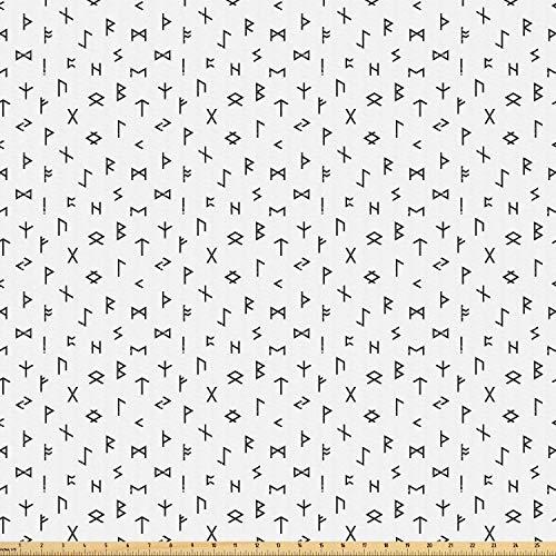Ambesonne Occult Fabric by The Yard, Minimalist Anatolian Tribal Hieroglyph Mythologic Alphabet Artwork Print, Microfiber Fabric for Arts and Crafts Textiles & Decor, 1 Yard, Black White from Ambesonne