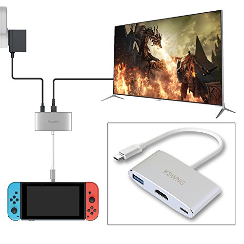 Portable Dock for Nintendo Switch, KSWNG HDMI Type C Hub Adapter for Nintendo Switch, Note8 / S8 (Dex Model), Macbook Pro, Projector by KSWNG