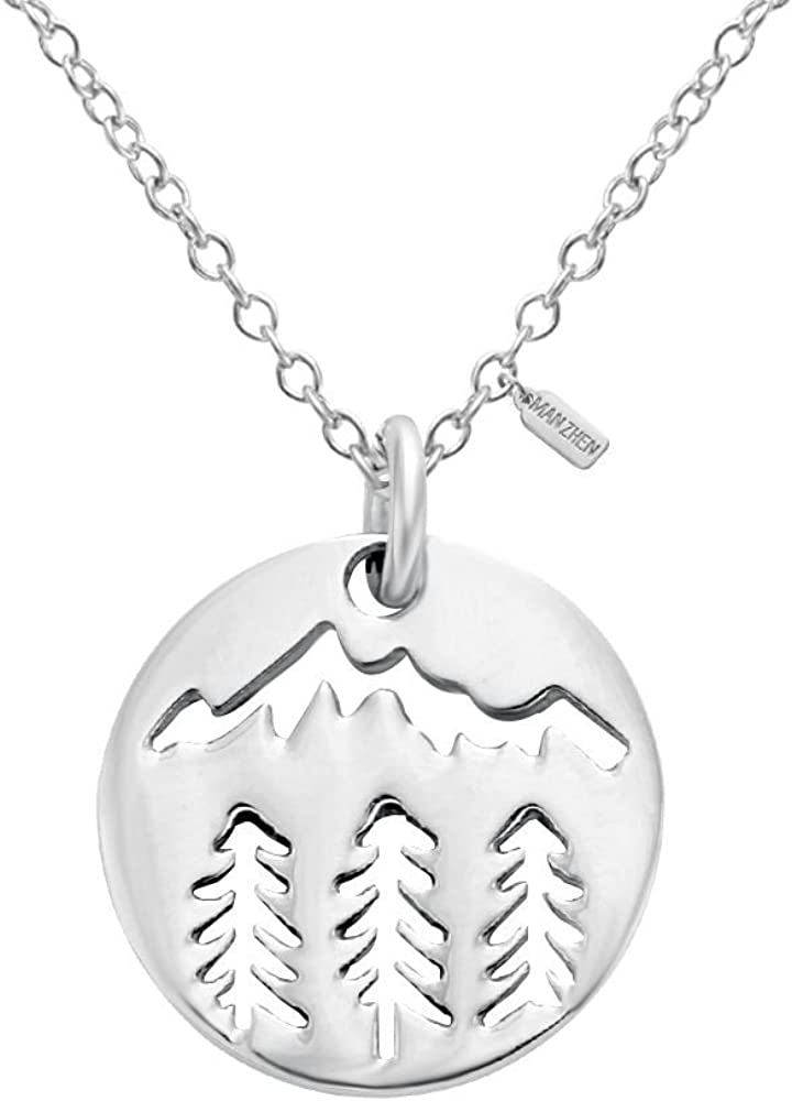 MANZHEN Tiny Mountain Forest Nature Wilderness Trees Hiking Camping Pendant Necklace