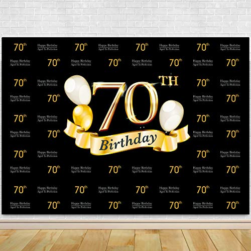 Glitter Gold and Black Photo Studio Booth Background Adult Happy 70th Birthday Party Decorations Banner Backdrops for Photography]()