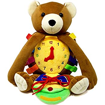 """BUCKLE TOY """"Billy"""" Backpack Bear – Toddler Life Skills Plush Travel Activity. Learn to Snap, Zip, Button, Tell Time, Tie Shoes and more"""