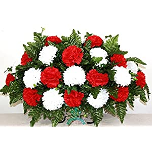 Beautiful XL Red and White Carnation Cemetery Tombstone Headstone Saddle 14