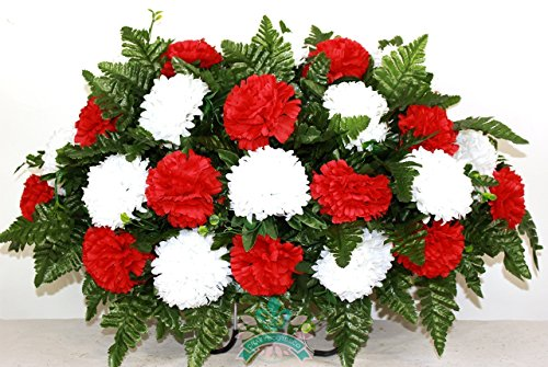 Beautiful XL Red and White Carnation Cemetery Tombstone Headstone (Funeral Wreath)
