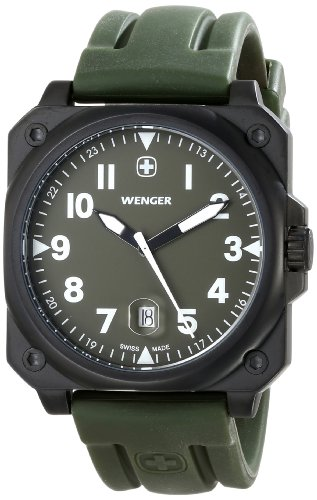 Wenger Men's 72422 AeroGraph Cockpit NATO Green Rubber Strap Watch