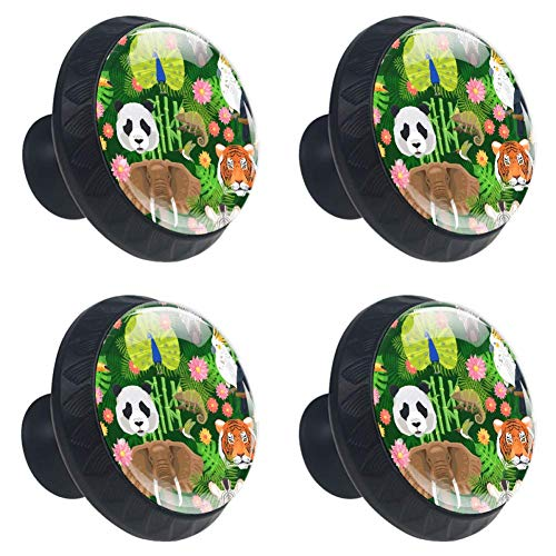 (Anmarco Jungle Animals Panda Tiger Elephant Drawer Knobs Pull Handles 30MM 4 Pcs Glass Cabinet Drawer Pulls for Home Kitchen Cupboard)