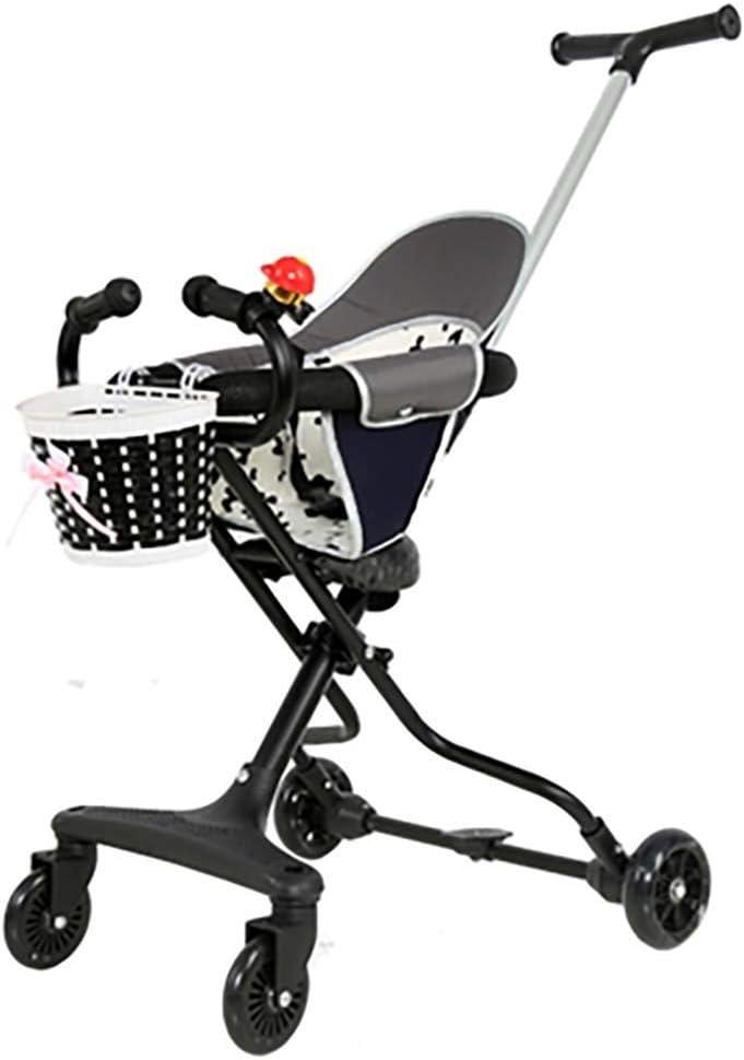 Sleeping Baby Artifact Light Fold Triciclo infantil Vehículo de cuatro ruedas 1-3-6 años Con Baby Salir Carrito (Color : Black)