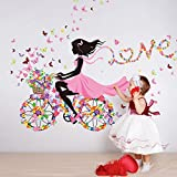 55 x 28 Inch DIY Butterfly Flower Wall Sticker For Kids Rooms Wall Decal Bicycle Love Girls Poster Stickers Mural Home Decoration Living Room Decor adesivo de parede