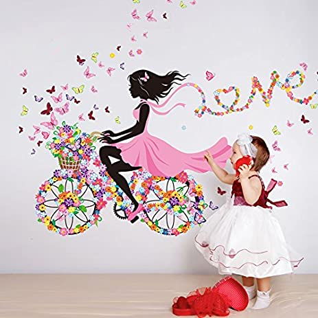 55 X 28 Inch DIY Butterfly Flower Wall Sticker For Kids Rooms Wall Decal  Bicycle Love Part 36