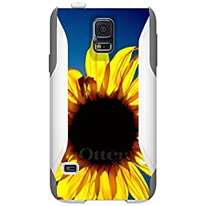 CUSTOM White OtterBox Commuter Series Case for Samsung Galaxy S5 - Blue Yellow Sunflower Sky