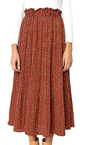 RichCoco Women's Polka Dot Midi Skirts Casual High Elastic Waist A Line Print Pleated Midi Vintage Dresses Chiffon Skirts Pockets (Coffee, ()