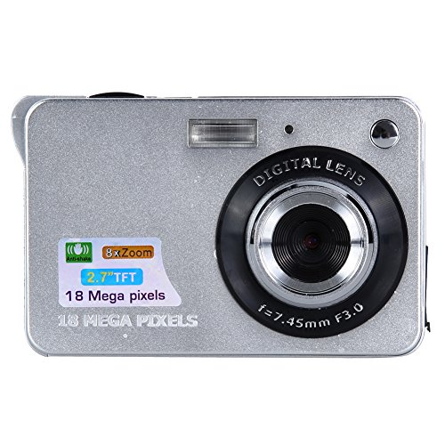 Awakingdemi Digital Camera,18 Mega Pixels CMOS 2.7 inch TFT LCD Screen Digital Camcorder Camera HD 720P DV 8X Digital Zoom HD (Silver)