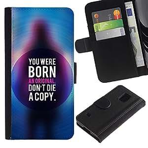 KingStore / Leather Etui en cuir / Samsung Galaxy S5 V SM-G900 / Texte Blue Life