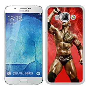 Samsung Galaxy A8 Case ,Wwe Superstars Collection Wwe 2k15 The Rock 05 white Samsung Galaxy A8 Cover Fashionable And Unique Custom Designed Phone Case