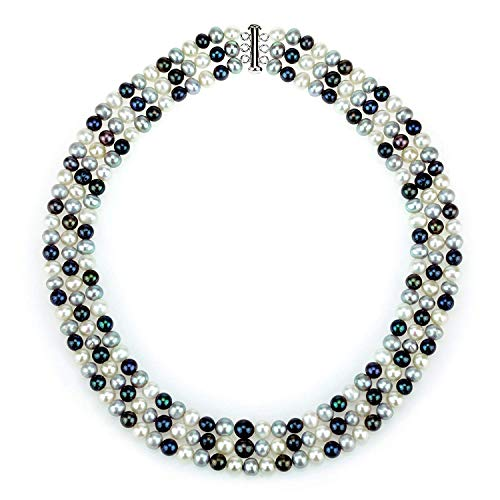 La Regis Jewelry .925 Sterling Silver 6.5-7mm White & Black Freshwater Cultured Multi-Colored Pearl 3-Row Necklace, ()
