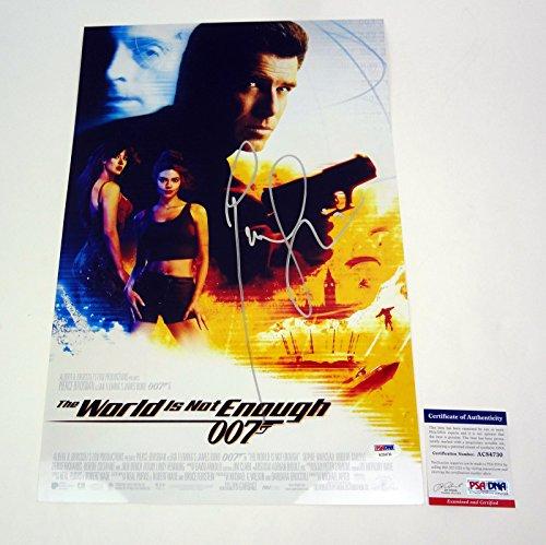 (Pierce Brosnan James Bond 007 Signed Autograph The World Is Not Enough Movie Poster PSA/DNA COA)