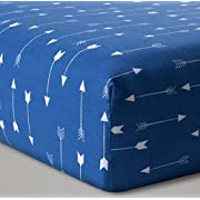 Fitted Baby Boy Crib Sheet Blue and White Arrow
