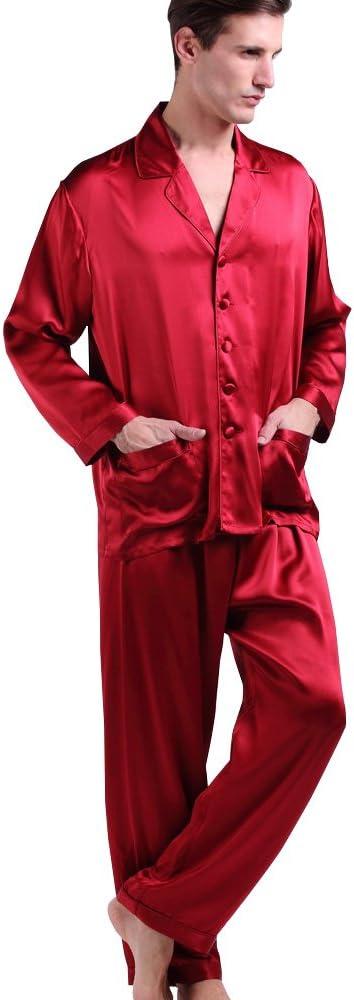 1930s Men's Clothing LilySilk Mens Silk Long Pajamas Set for Men 2pc Sleepwear Soft Luxury 22 Momme Real Mulberry Silk $179.99 AT vintagedancer.com