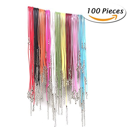 100 Pcs 18 Inches Mix Color Waxed Cotton Necklace Cord with Lobster Claw Clasp for DIY Jewelry - Color Cord Wax