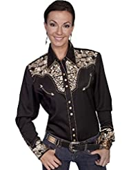 Scully Womens Floral Embroidered Western Shirt - Pl-654