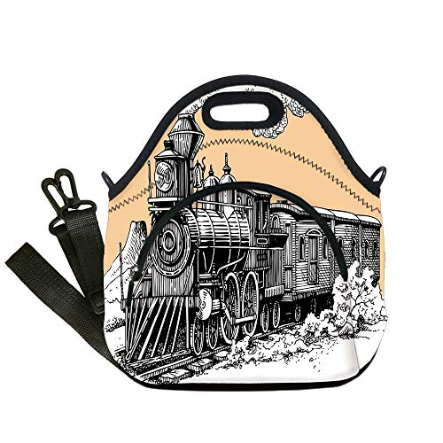 (Insulated Lunch Bag,Neoprene Lunch Tote Bags,Steam Engine,Vintage Wooden Train Rail Wild West Wagon in Countryside Drawing Effect Artsy,Peach White,for Adults and children)