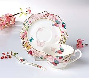 FAMIWORKS Fine Bone China Conjunto De Cucharas y Platillos De Té, Gran Diseño Con Mariposa y Flor De Cerezo, 170 mililitros (rosa)