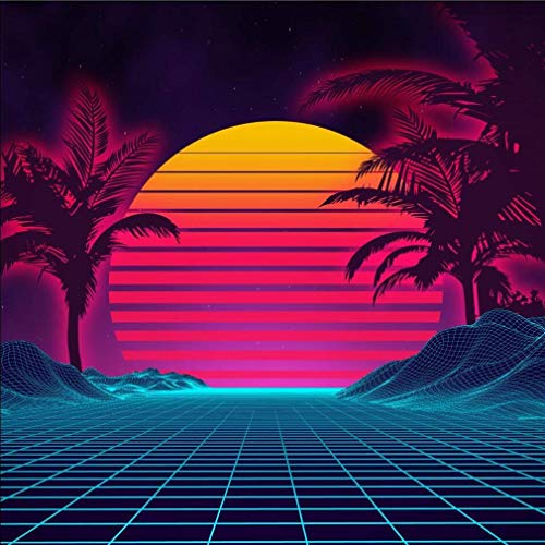 (Retro 1980s Summer Landscape Photo Backdrop for 80s Sci-Fi Party Palm Tree Sunset Cyber Surface Technology Photography Background Booth Studio Shoot Pictures 8x8 ft 707)